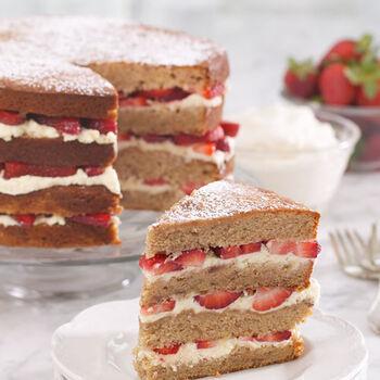 Brown Sugar Strawberry Sour Cream Cake