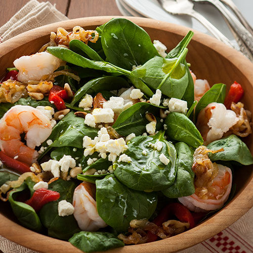 Warm Baby Spinach Salad with Toasted Pine Nuts and Shrimp - Stonewall ...