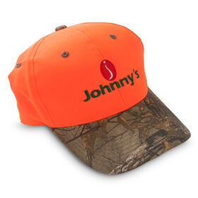 Johnnys Baseball Cap - Blaze orange & camo. Hats