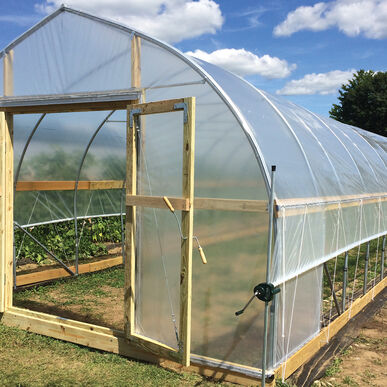 Gothic high tunnel 14 39 wide quick hoops bender for Gothic arch greenhouse plans